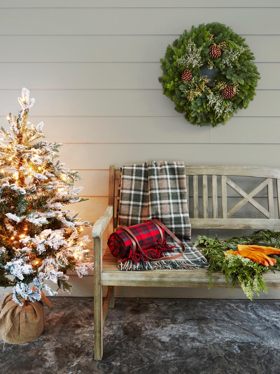 Make your front porch bench welcoming to all. Source: HGTV
