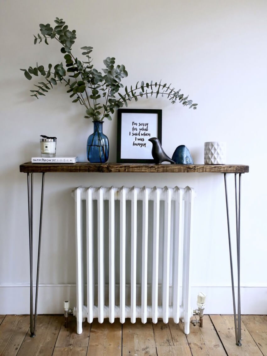 Make your radiator look better by distracting from it with a table