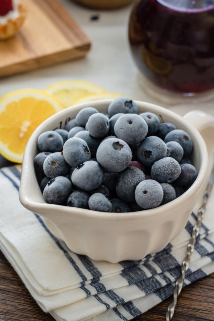 Freeze berries to add to recipes.