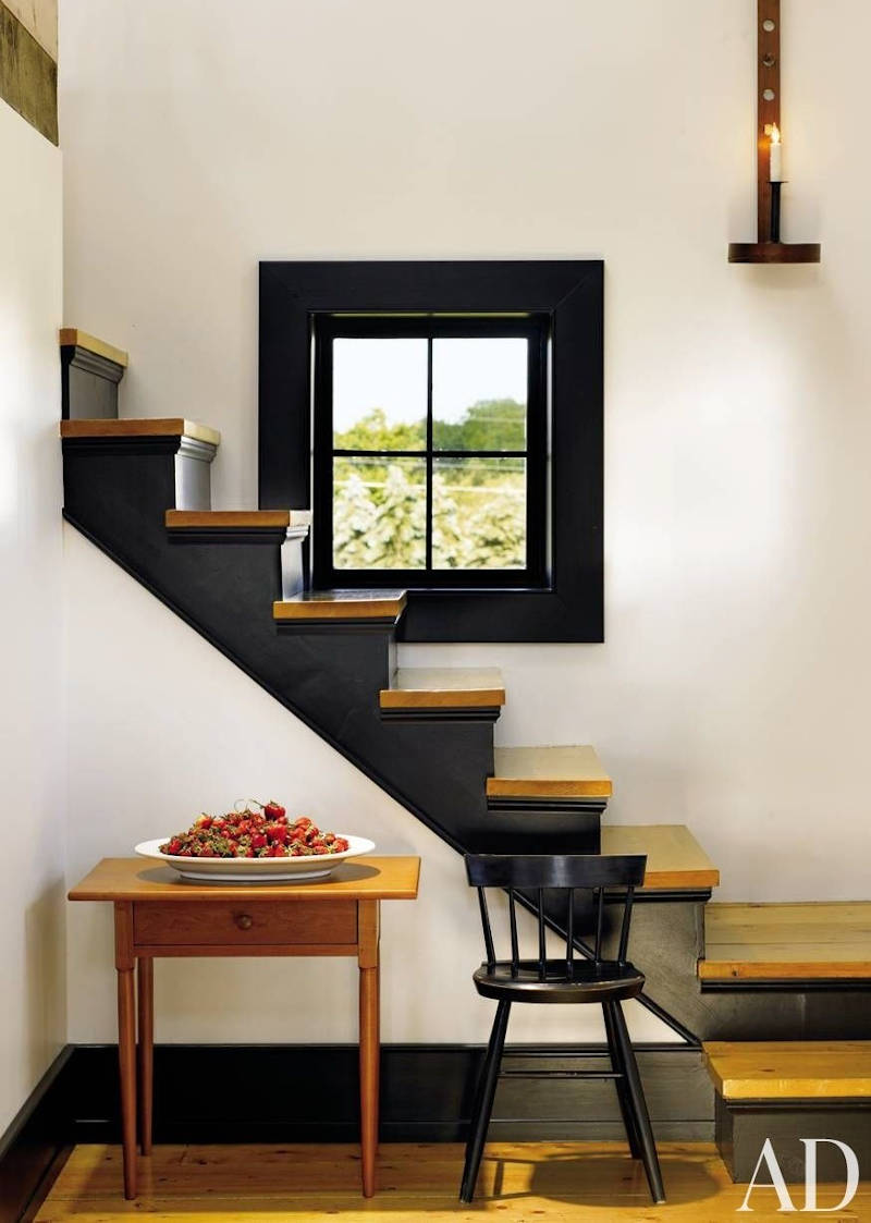 dark steps with wooden accents