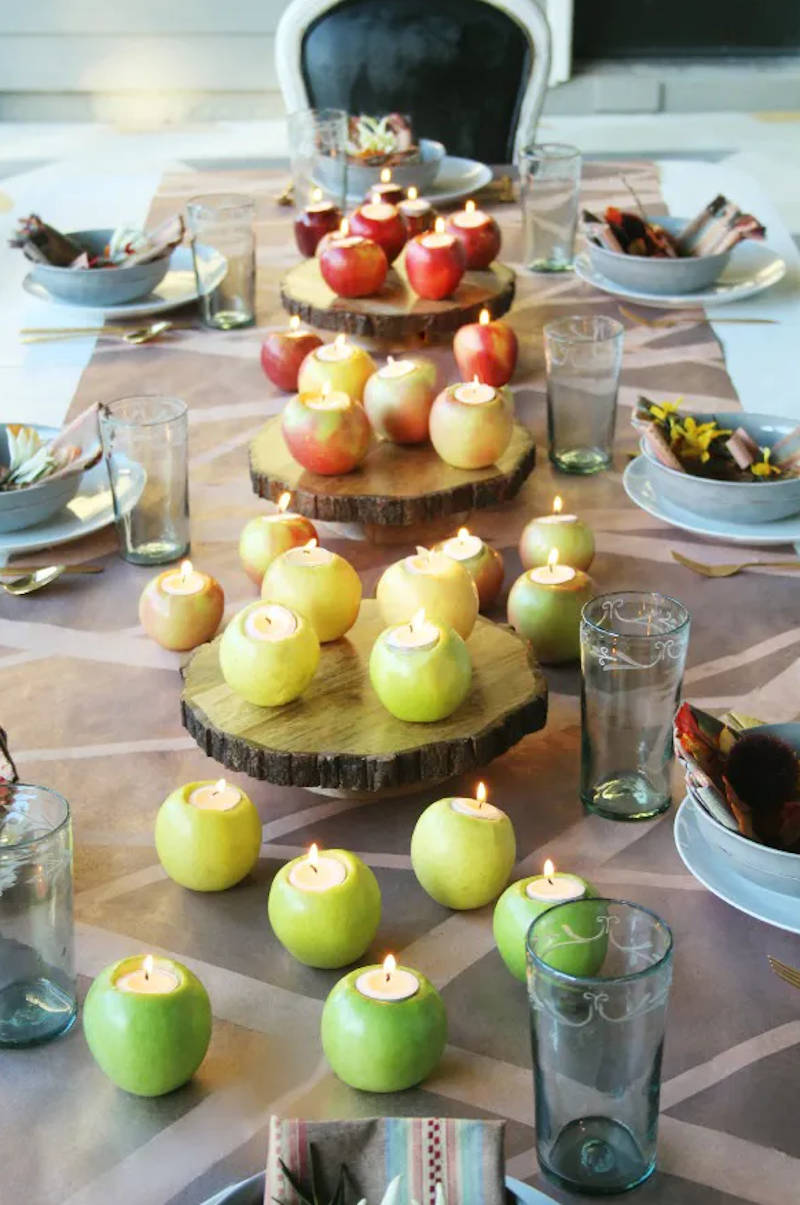 apple candles and table decor
