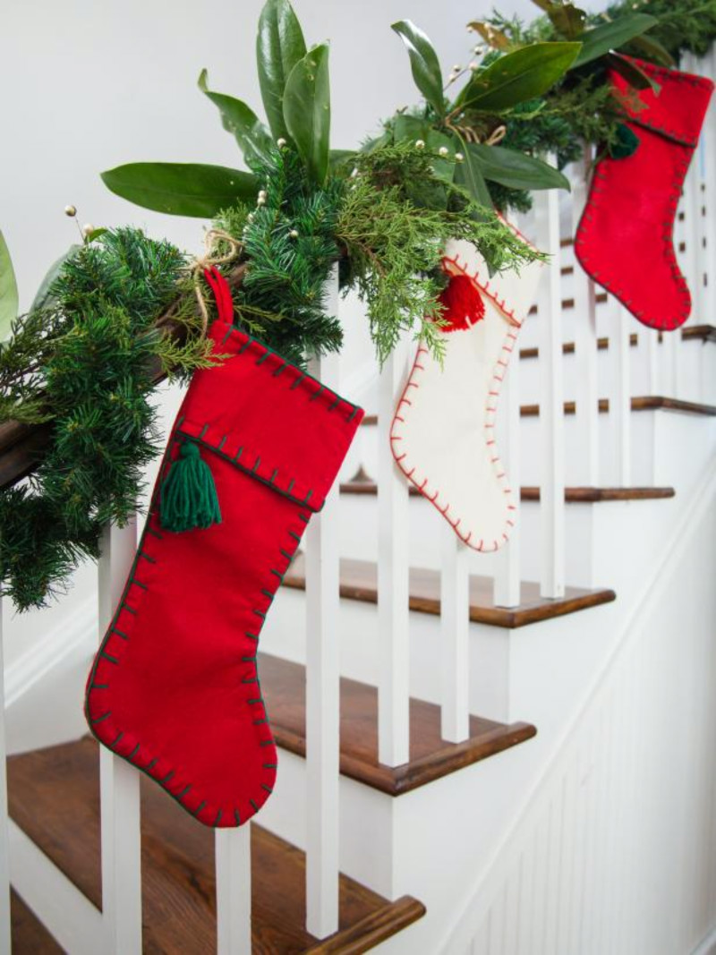 These decorative socks make for a beautiful look. Source: HGTV