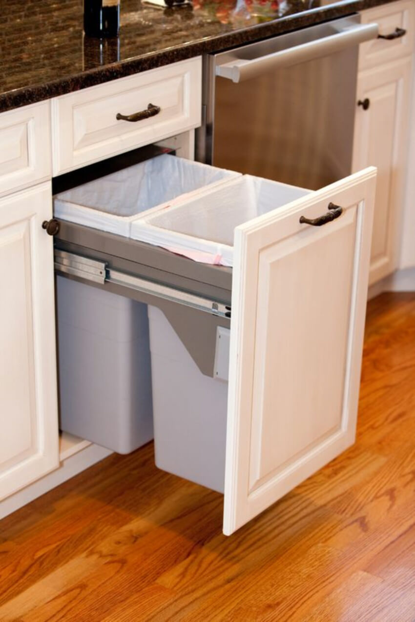 Garbage bins are great additions to your kitchen. Source: DigsDigs