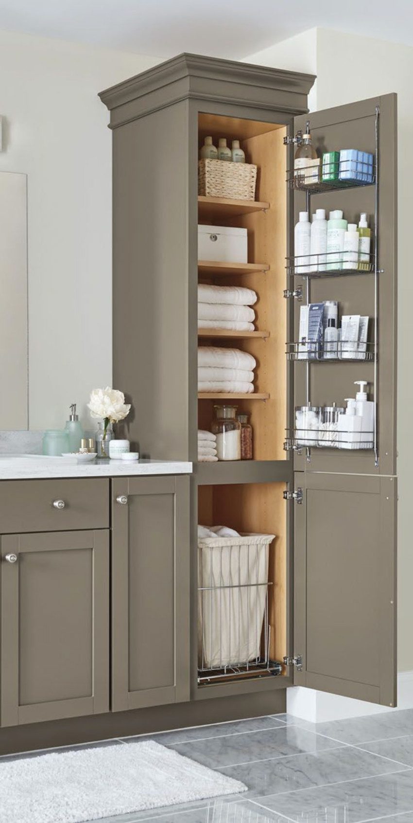 Your bathroom will be much better with a storage solution like this.