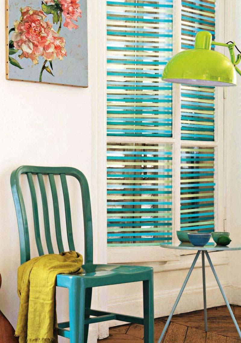 Window blinds with washi tape