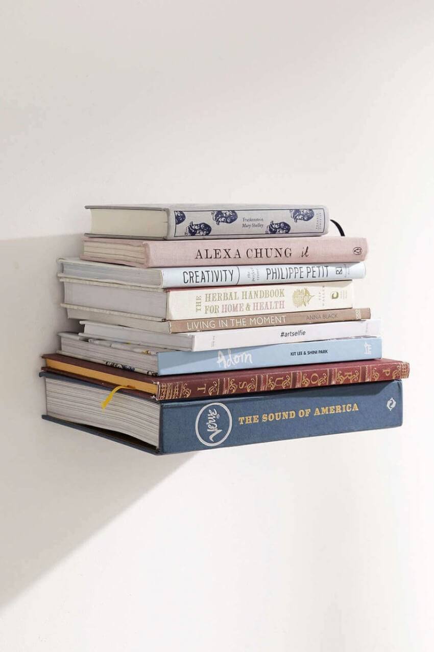 The floating bookshelf is practical and beautiful.