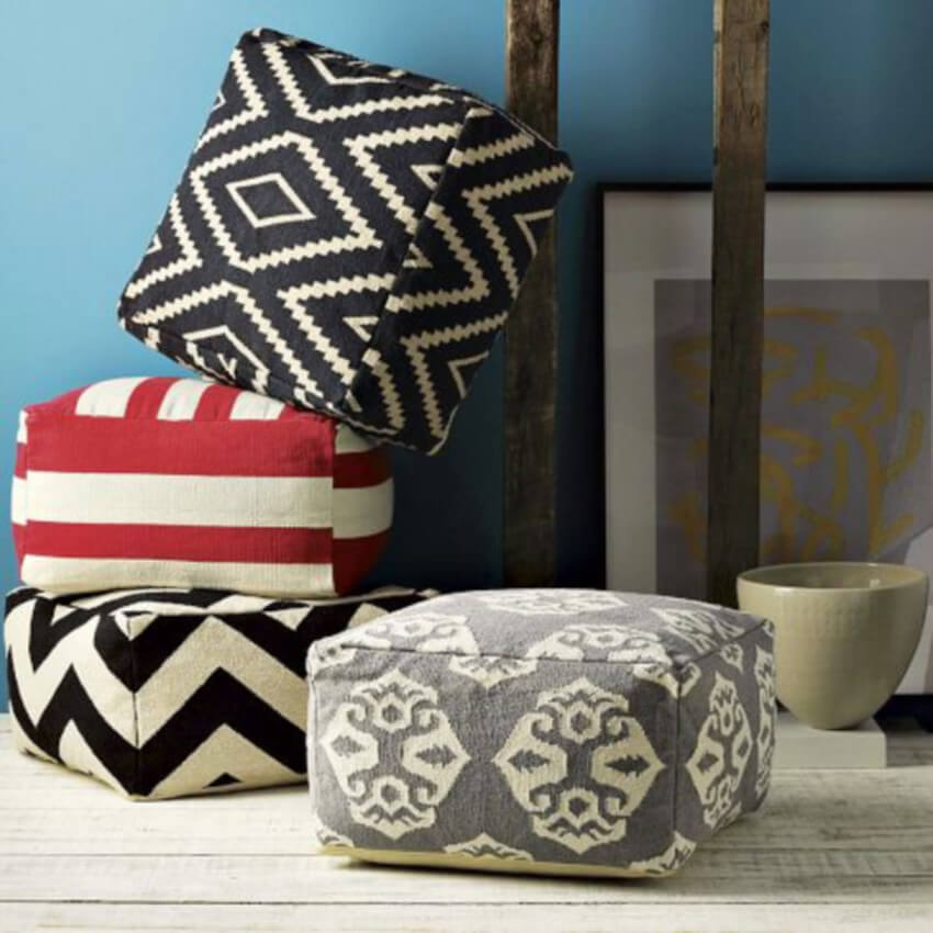Enjoy your weekend time to make a comfy pouf for the family room.