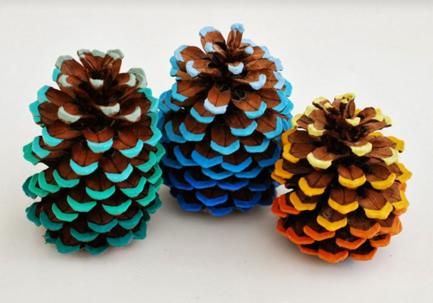 Painted pine cones are super easy to make. Source: Whimzeecal