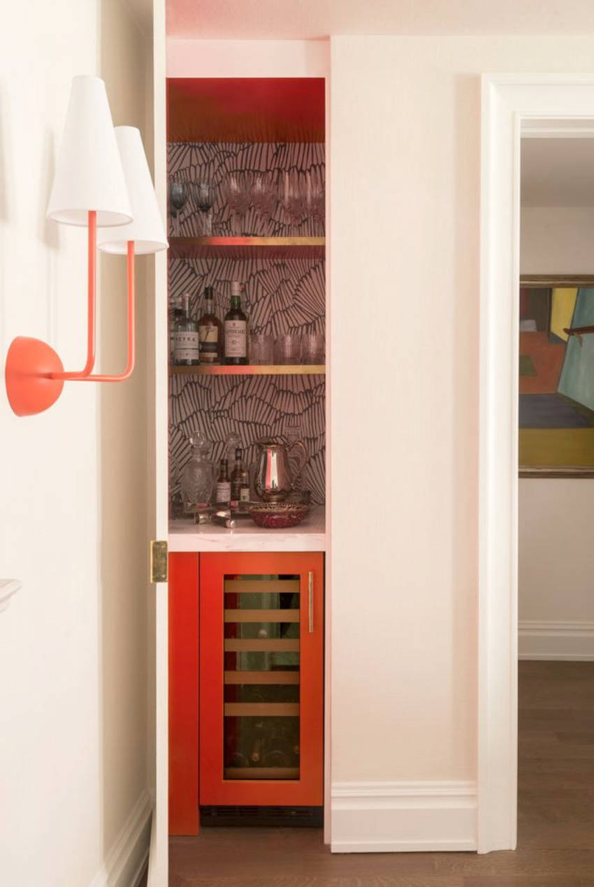 A closet space can become your own home bar! Source: Home Beautiful
