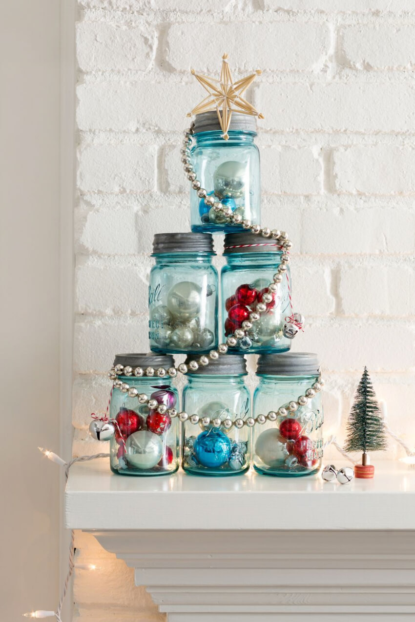 Mason jars are incredibly useful as decorative pieces. Source: Good House Keeping
