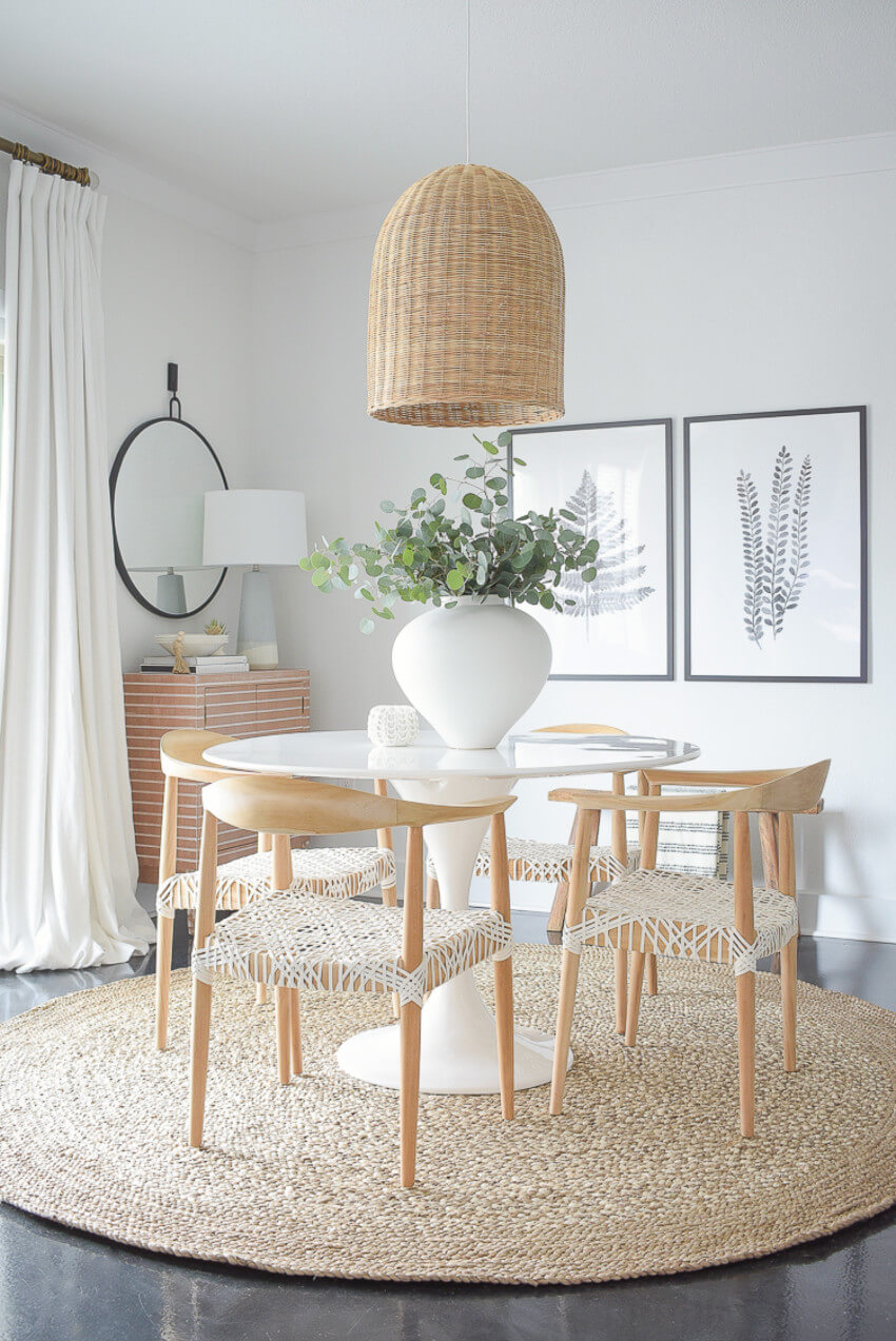A light and breezy dining room for spring time.