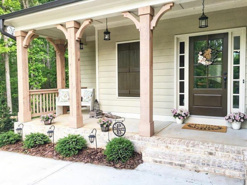 A farmhouse porch is simple to put together.