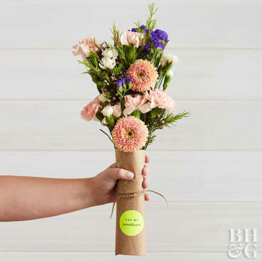 Make fresh bouquets with these wrap ideas. Source: BHG
