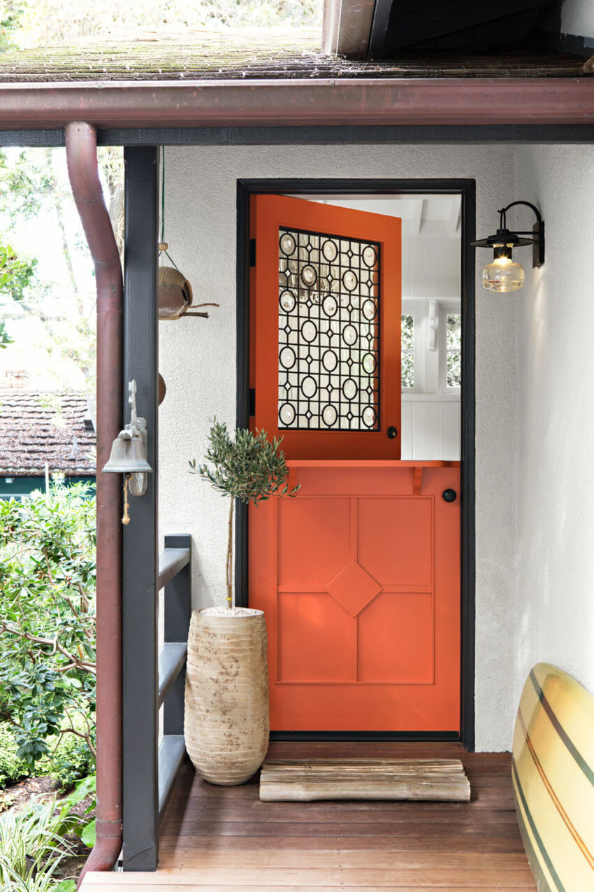 Painting the front door is always a great front porch project! Source: House Beautiful