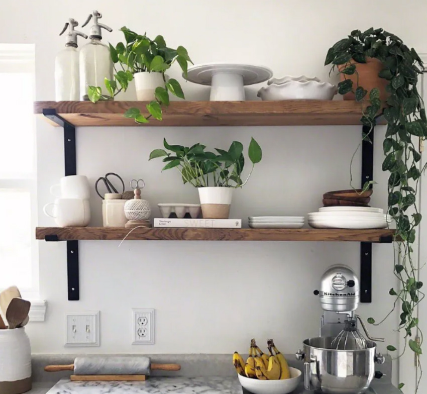 Open shelves are great for a simpler time in the kitchen. Source: The Spruce