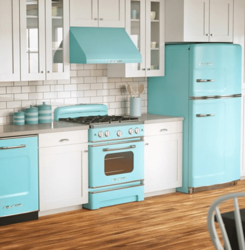 These bright blue appliances are really cute.