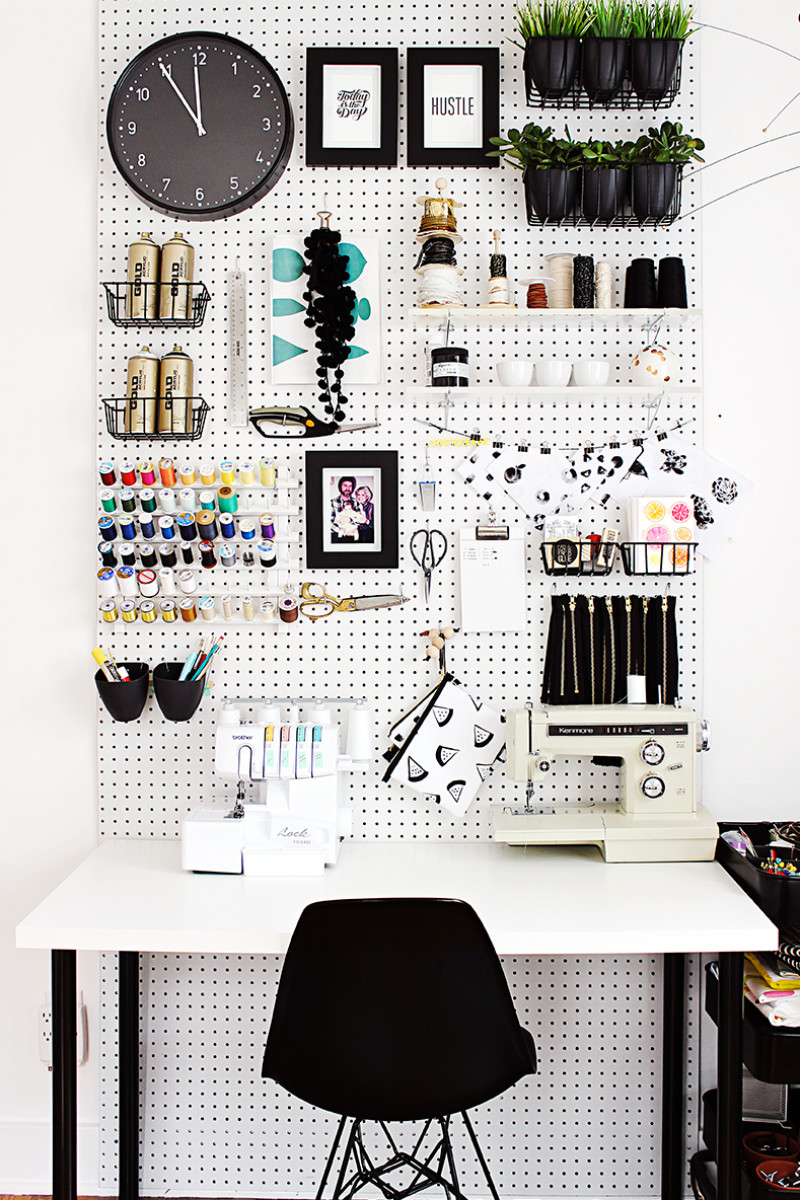 A pegboard is awesome for organization. Source: Good Housekeeping