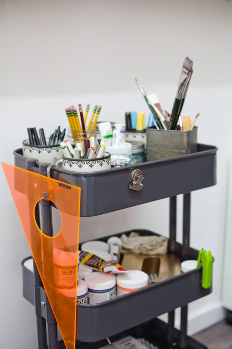 A caddy is perfect for keeping beside your desk. Source: Apartment Therapy