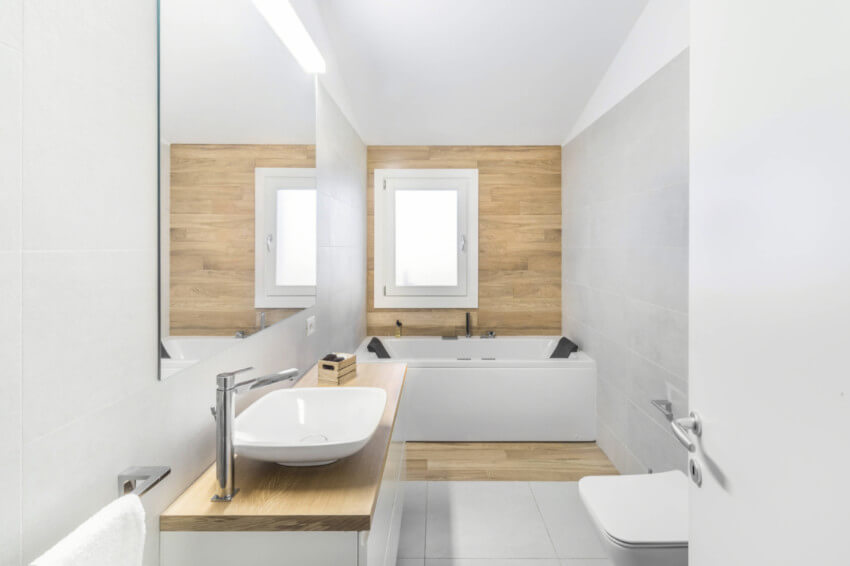 Wood accents will make your bathroom look great.