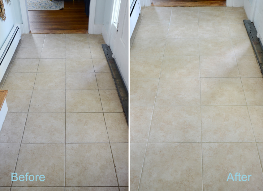 Never forget the grout when cleaning your tiles! Source: DIYs