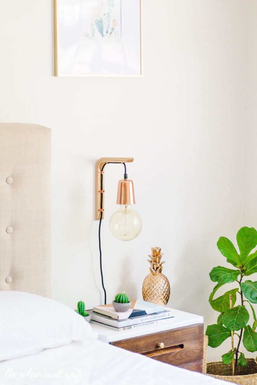 A hanging light is a lot more practical to save surface space.