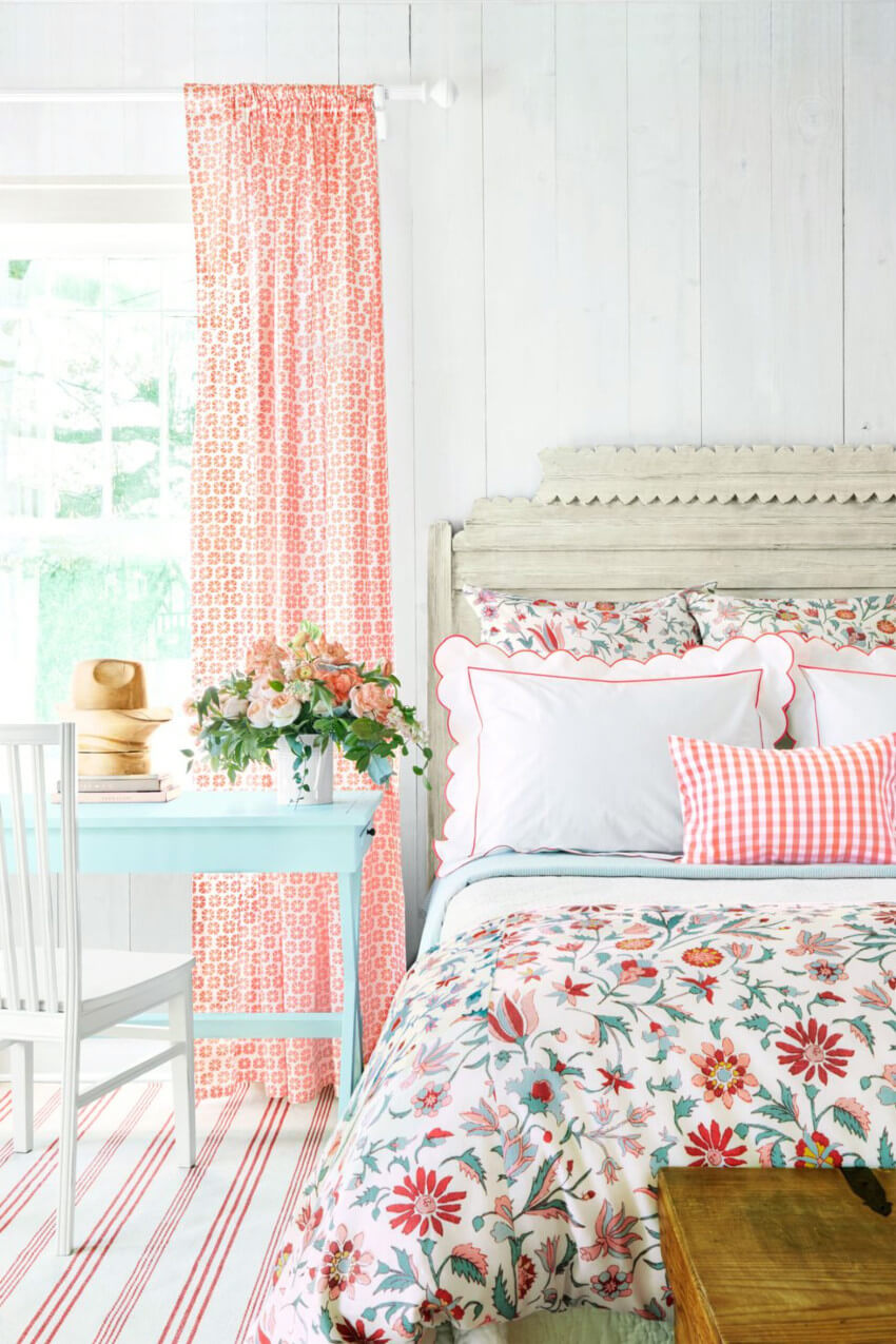 This floral bedroom is perfect for the season.