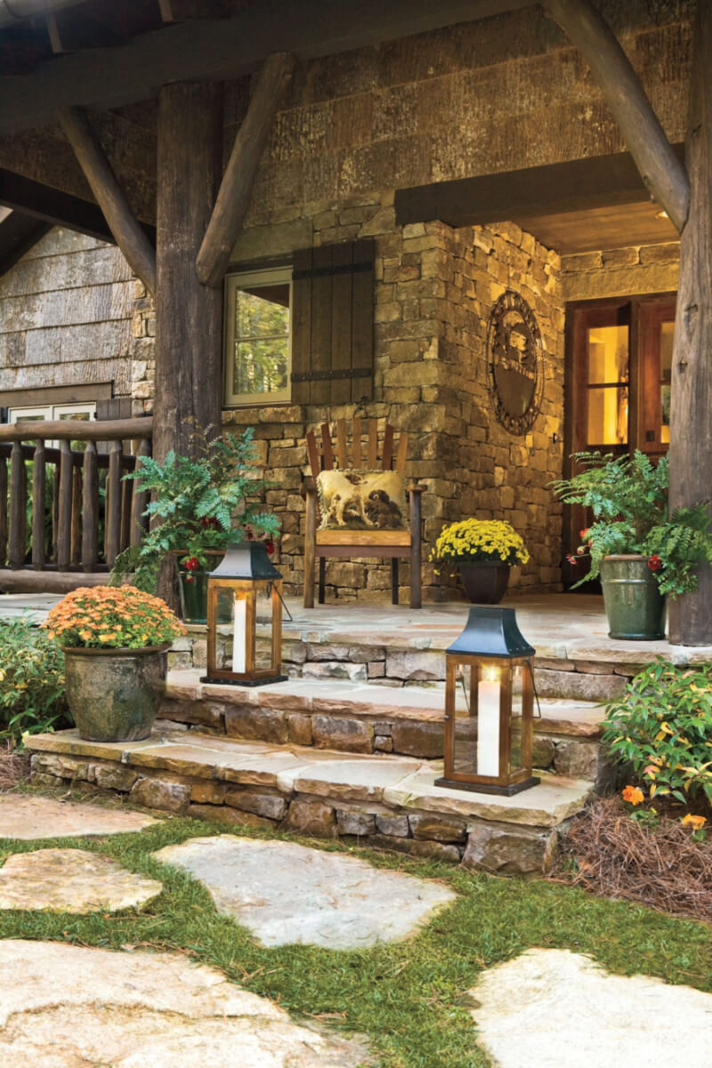 Lanterns can be used for decoration, but can also provide extra light to your porch. Source: Southern Living