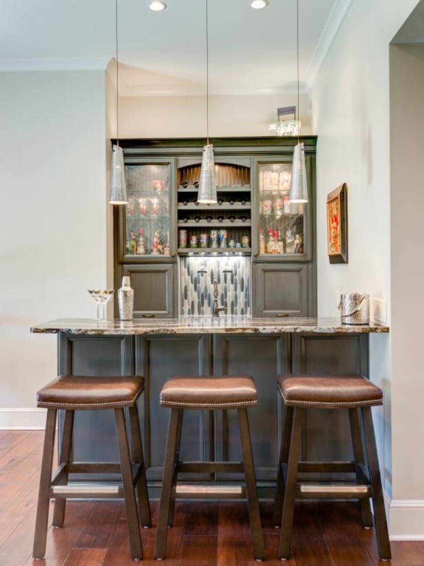 A corner of your home can become a tiny bar! Source: HGTV
