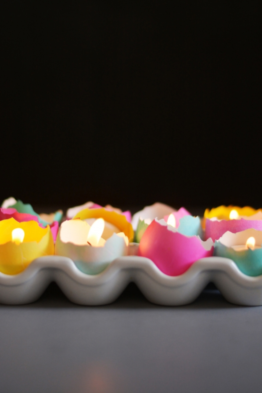 Create adorable eggshell candles. Source: House Beautiful