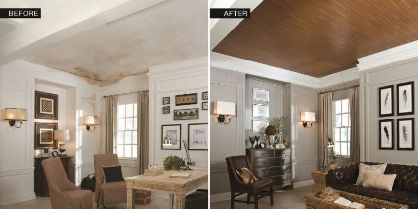 You can remove the popcorn ceiling and use panels instead.
