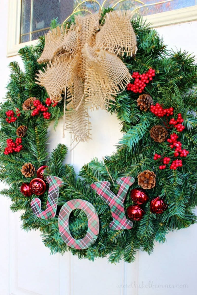 The Christmas wreath is a staple of the season. Source: Domestically Creative