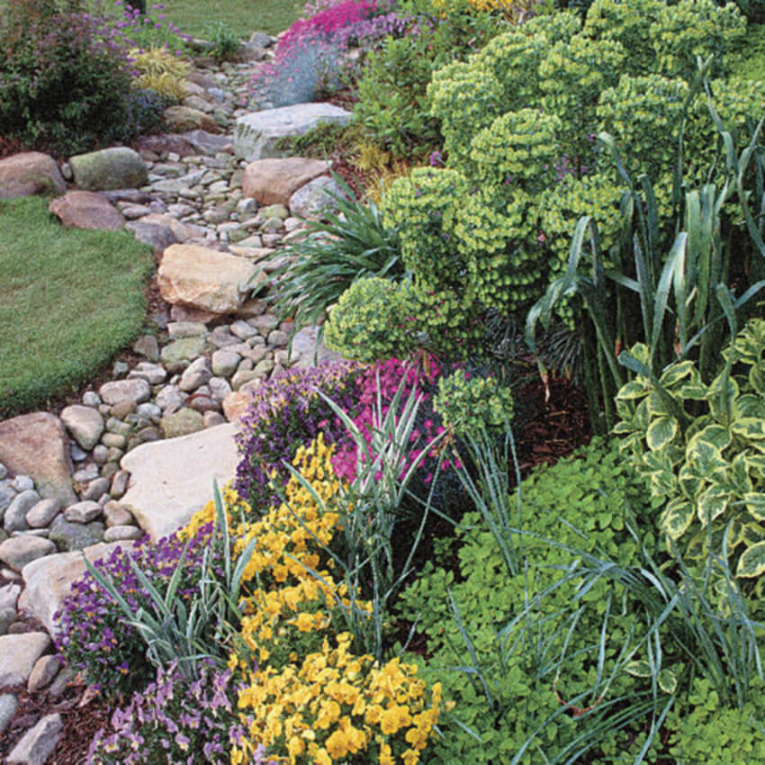 Swales are by far the most common and simple method. Source: Fine Gardening